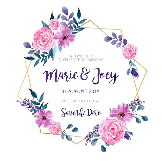 Invitación de boda marco dorado vector gratuito