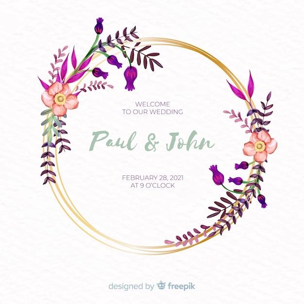 Invitación de boda marco floral acuarela vector gratuito