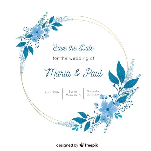 Invitación de boda marco floral azul vector gratuito