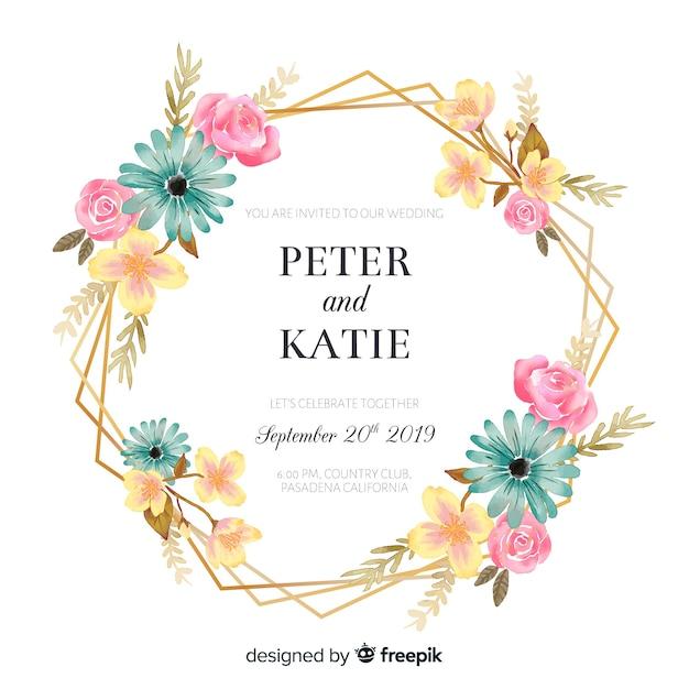 Invitación de boda con marco floral dorado. vector gratuito