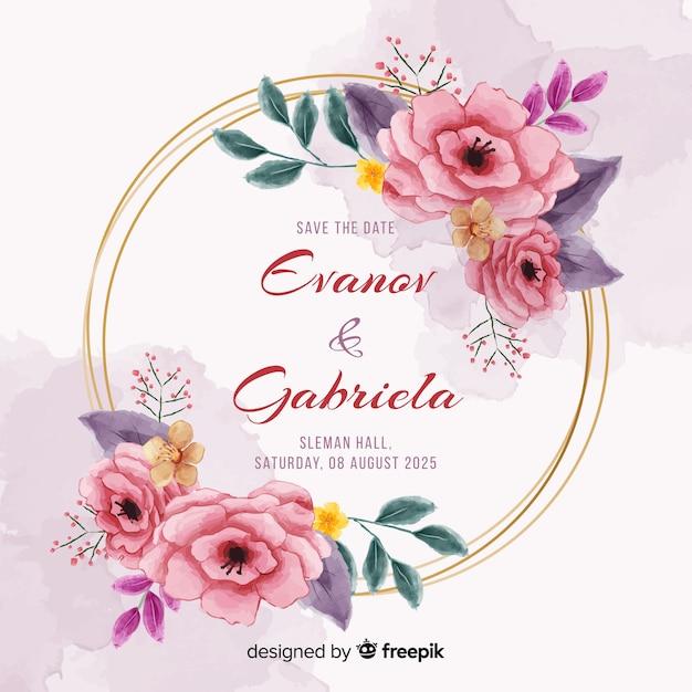 Invitación de boda marco floral pintado a mano vector gratuito