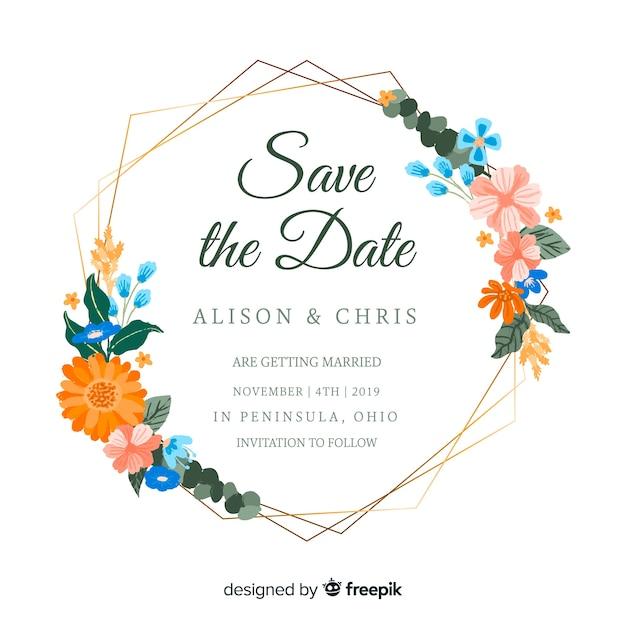Invitación de boda marco floral pintado vector gratuito