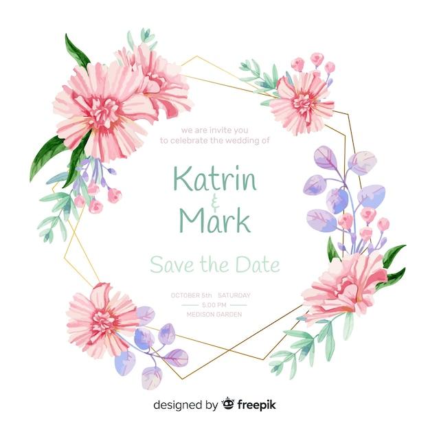 Invitación de boda con marco floral vector gratuito