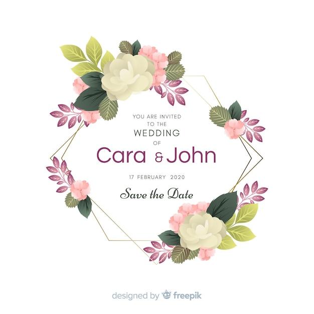 Invitación de boda marco floral vector gratuito