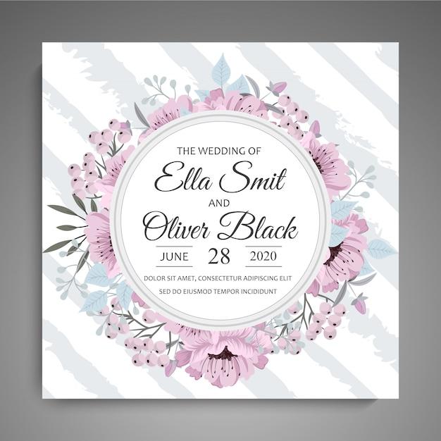 Invitación de boda con marco de flores de color rosa y azul claro vector gratuito