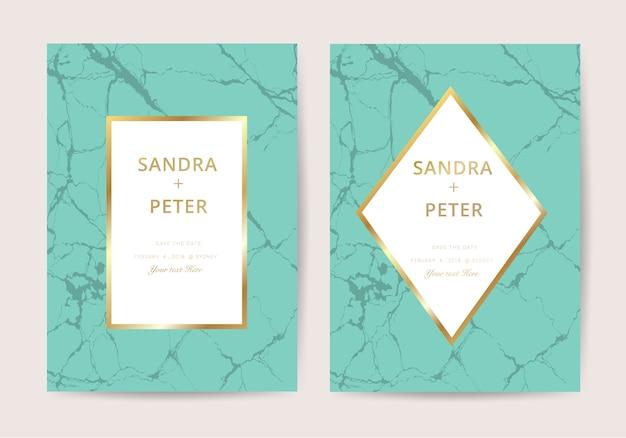 Invitación de boda de mármol en estilo de lujo Vector Premium