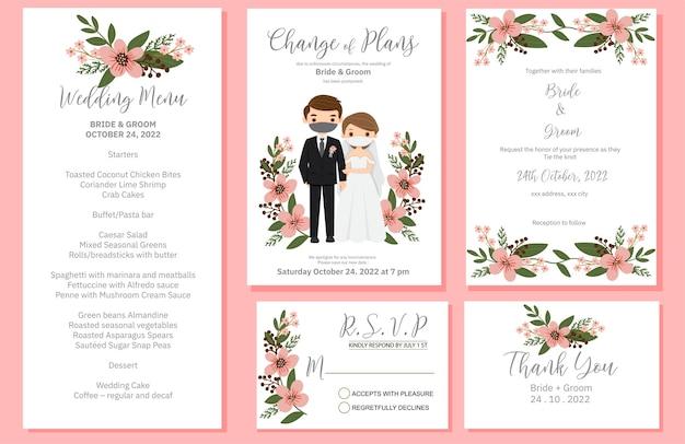 Invitación de boda, menú, rsvp, etiqueta de agradecimiento guardar el diseño de la tarjeta de fecha Vector Premium