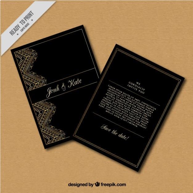 7a960866be1c2 Invitación de boda oscura de detalles dorados