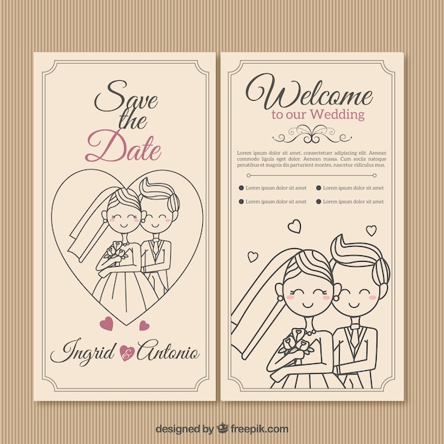 Invitación de boda de pareja dibujada a mano vector gratuito