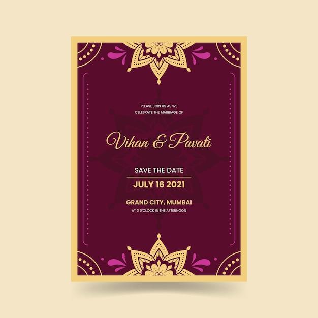 Invitación de boda para pareja india vector gratuito