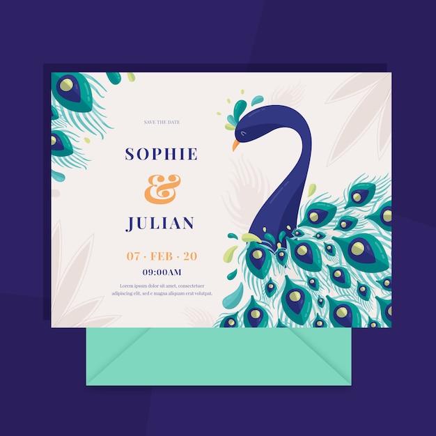 Invitación de boda de pavo real y plumas vector gratuito