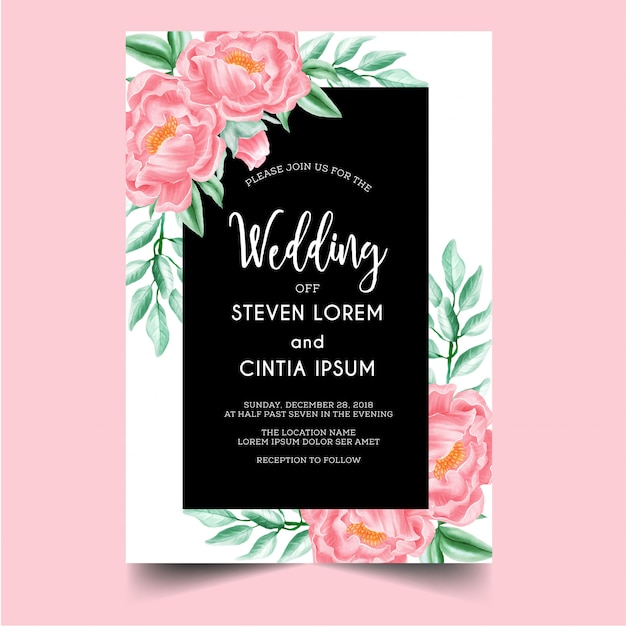 Invitación de boda peonía rosa Vector Premium