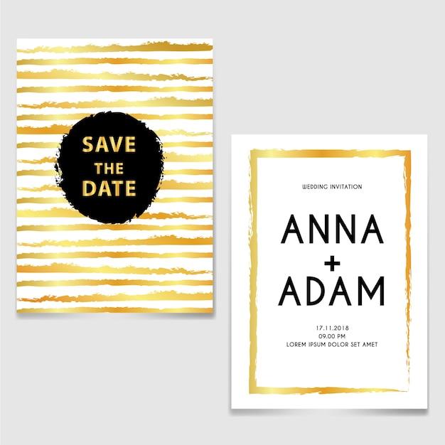 Invitación de boda con pincel de línea oro y negro Vector Premium
