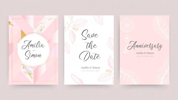 Invitación de boda y plantilla de diseño de tarjeta con hermosas plumas. Vector Premium