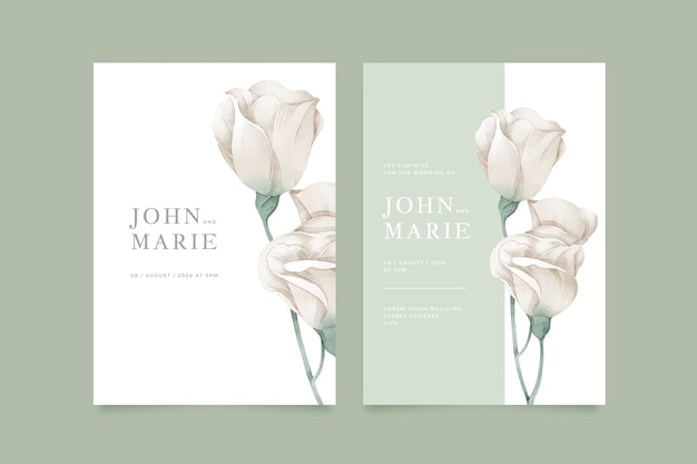 Invitación de boda de plantilla con flor grande vector gratuito