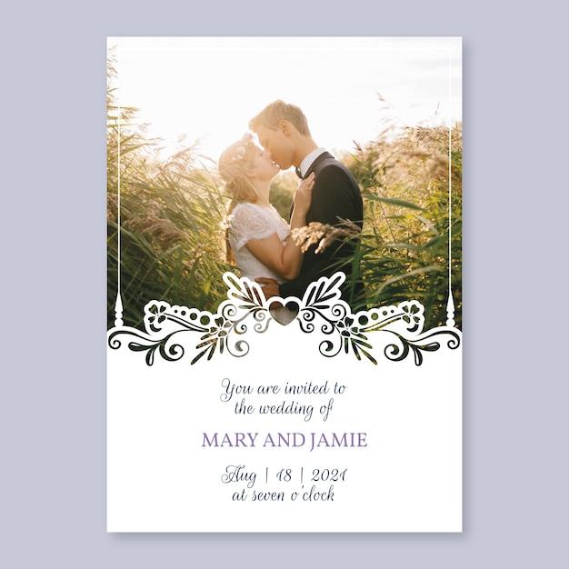Invitación de boda de plantilla con imagen vector gratuito