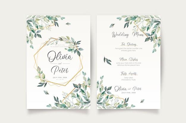 Invitación de boda y plantilla de menú con hermosas hojas vector gratuito