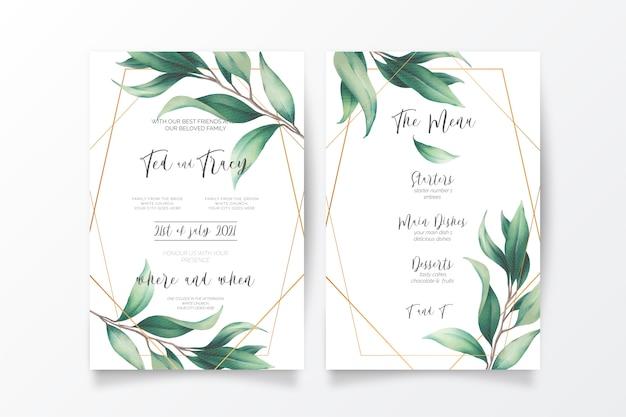 Invitación de boda y plantilla de menú con hojas silvestres vector gratuito