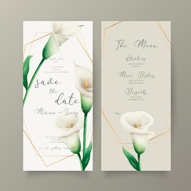 Invitación de boda y plantilla de menú con lirios blancos vector gratuito