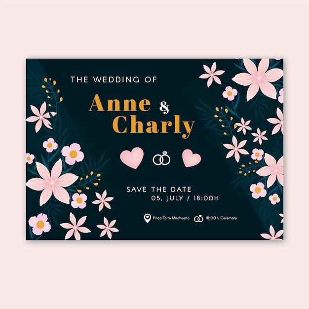 Invitación de boda plantilla retro vector gratuito