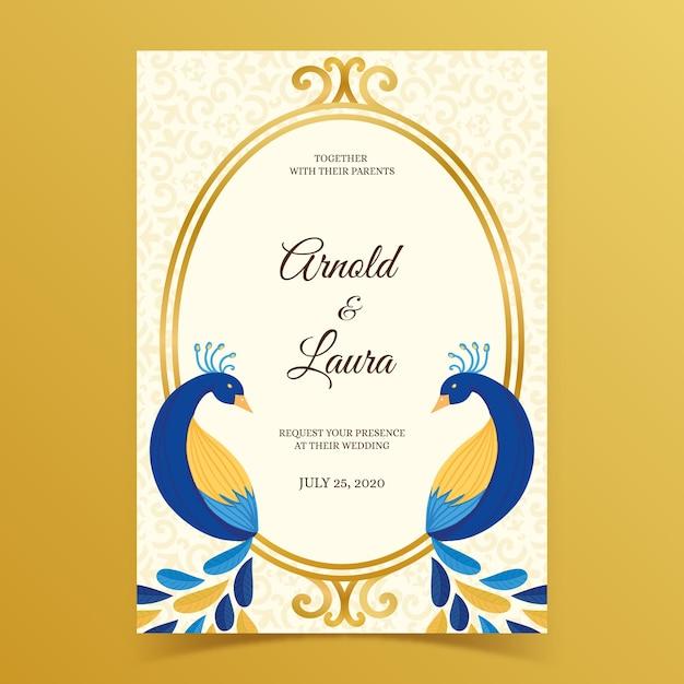 Invitación de boda con plumas de pavo real vector gratuito