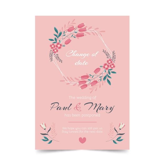 Invitación de boda pospuesta dibujada a mano Vector Premium