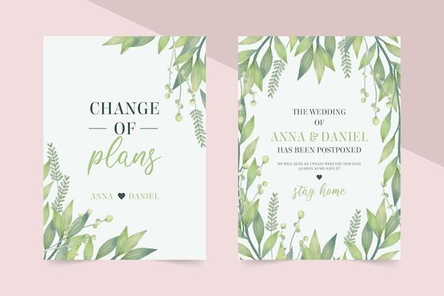 Invitación de boda postergada acuarela vector gratuito