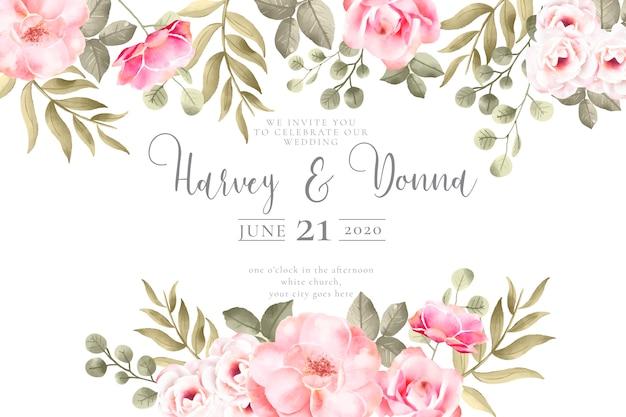 Invitación de boda con preciosas flores de acuarela vector gratuito