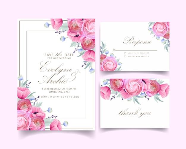 Invitación de boda con ranúnculos florales y flores de amapola Vector Premium