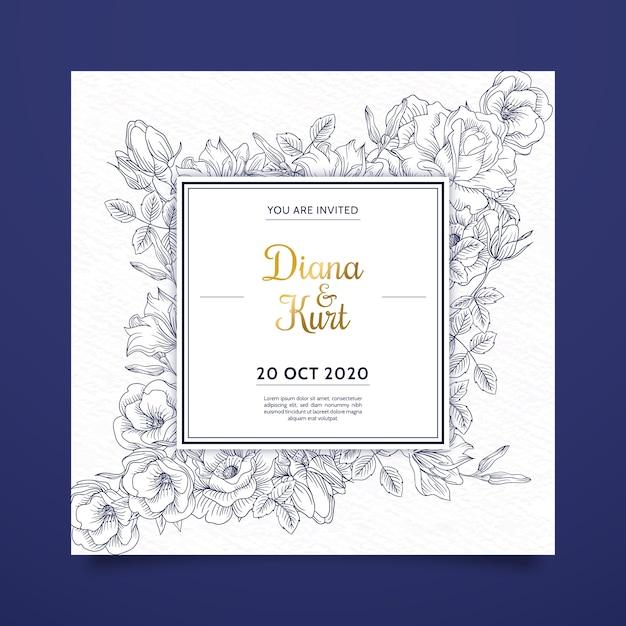 Invitación de boda realista flores dibujadas a mano en tonos azules Vector Premium