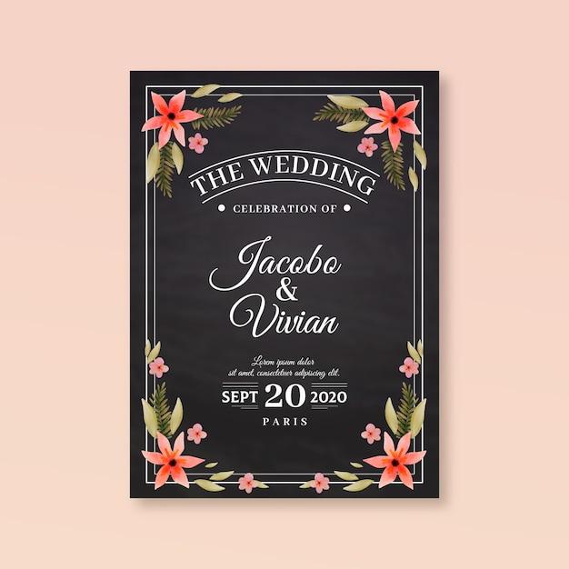 Invitación de boda retro con flores vector gratuito