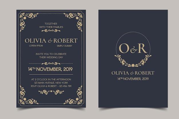 Invitación de boda retro sobre fondo oscuro vector gratuito