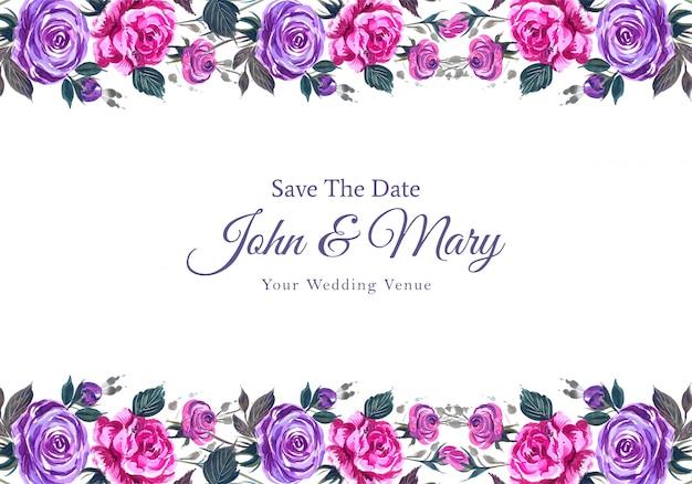 Invitación de boda romántica con flores de colores de fondo vector gratuito