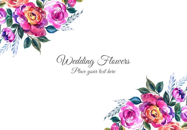 Invitación de boda romántica con flores de colores vector gratuito
