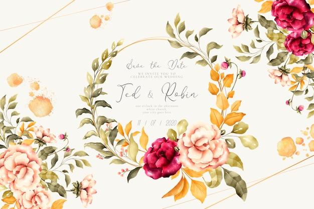 Invitación de boda romántica con flores vintage vector gratuito