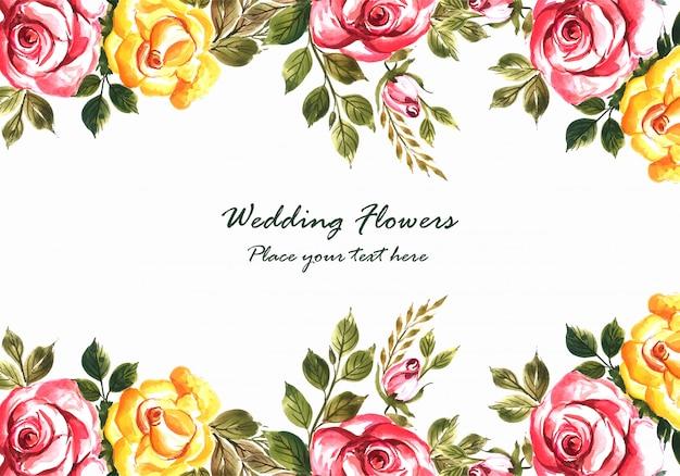 Invitación de boda romántica con plantilla de tarjeta de flores de colores vector gratuito