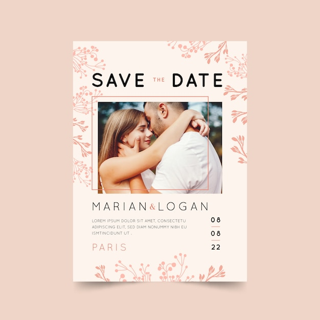 Invitación de boda rosa con foto vector gratuito