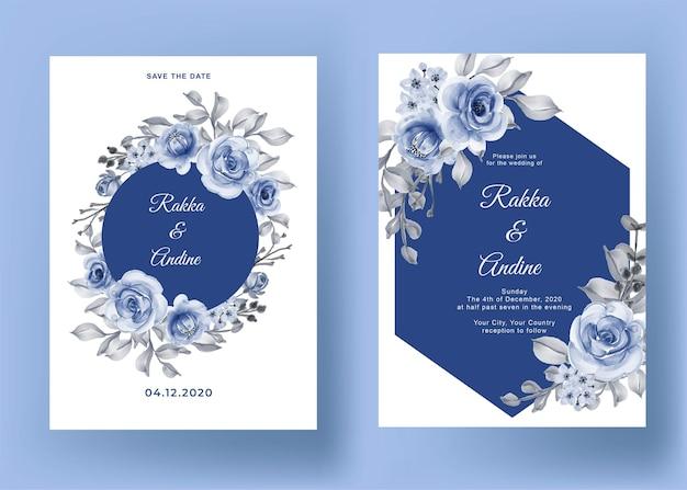 Invitación de boda con rosa y hoja azul marino vector gratuito