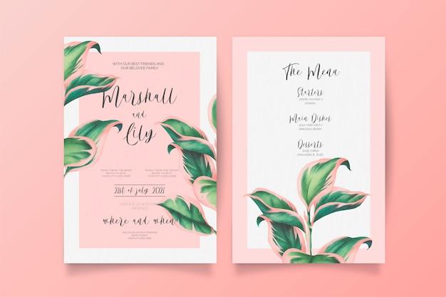 Invitación de boda rosa y verde y plantilla de menú vector gratuito