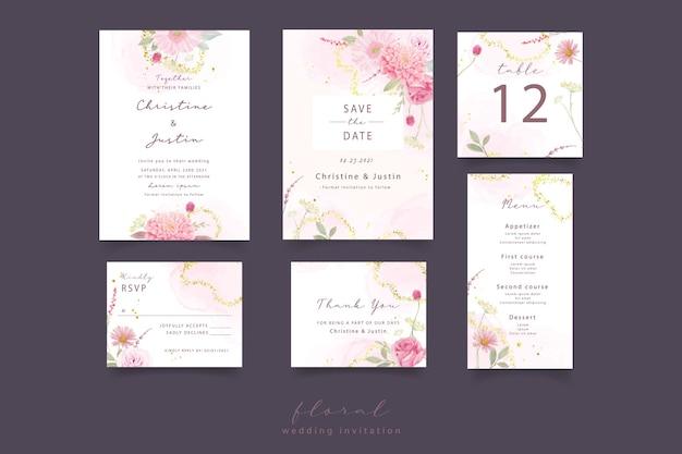 Invitación de boda con rosas acuarelas, dalia y flores de gerbera vector gratuito