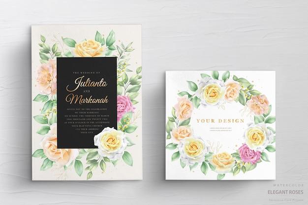 Invitación de boda con rosas acuarelas vector gratuito