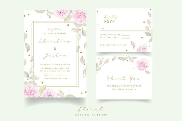 Invitación de boda con rosas florales acuarelas vector gratuito