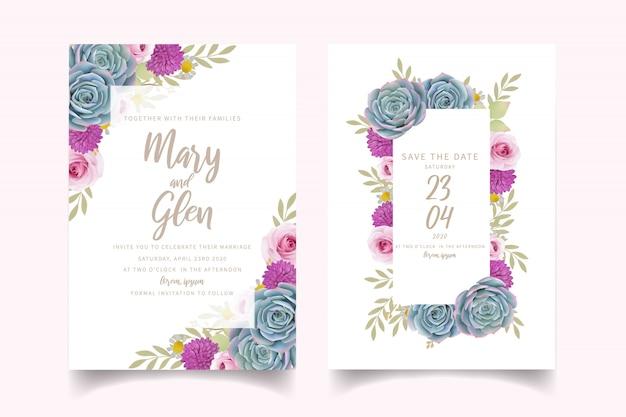 Invitación de boda con rosas florales y suculentas Vector Premium