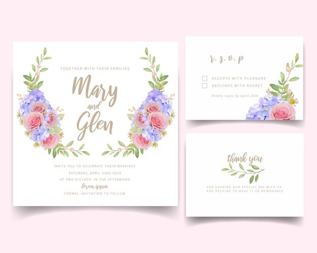 Invitación de boda con rosas y hortensias florales Vector Premium
