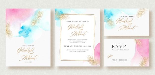 Invitación de boda con salpicaduras de colores pastel y brillo dorado Vector Premium