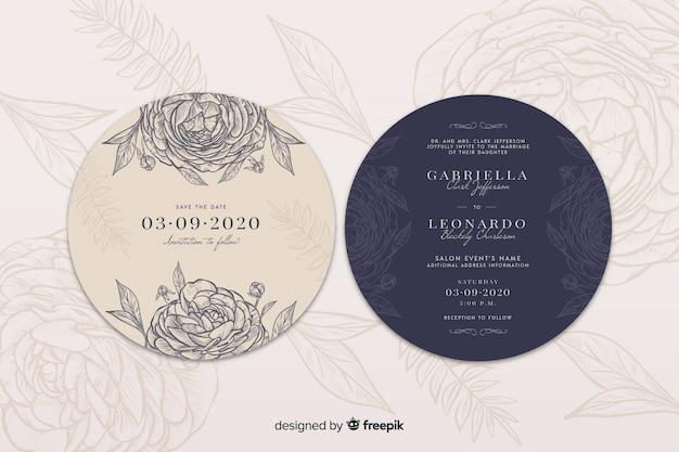 Invitación de boda simple con rosas dibujadas a mano vector gratuito