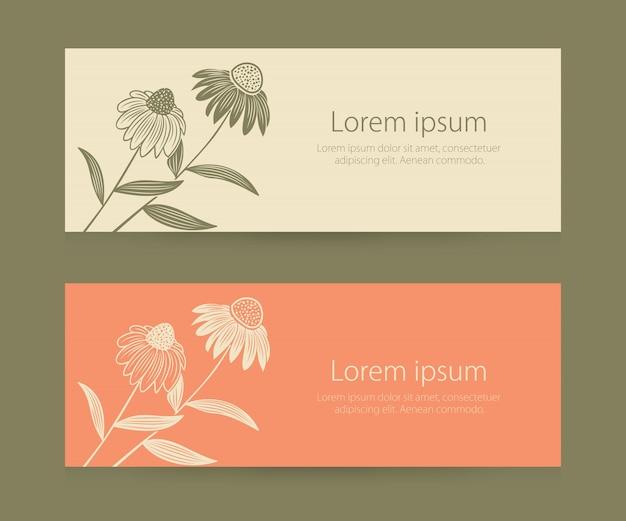 Invitación de boda y tarjeta de anuncio con ilustraciones de fondo floral vector gratuito
