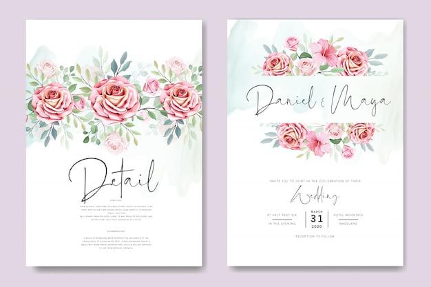 Invitación de boda y tarjeta de invitación con hermosas rosas plantilla Vector Premium