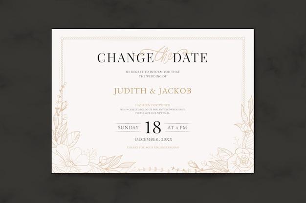 Invitación de boda tipográfica pospuesta Vector Premium
