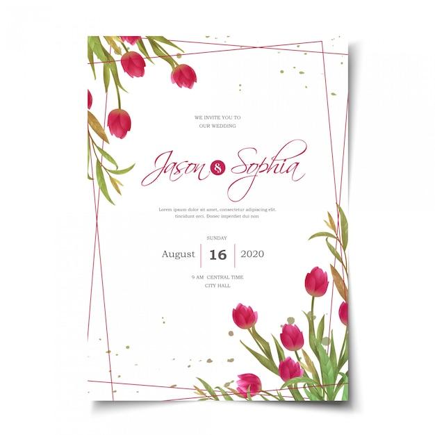Invitación de boda tulipanes rojos acuarela Vector Premium